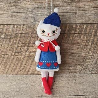 カルディ(KALDI)のカルディ クリスマス くたくた白ネコちゃん(ぬいぐるみ)