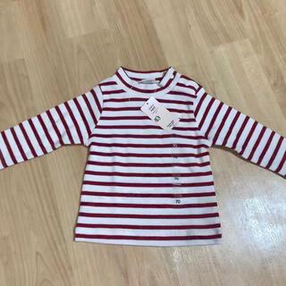 アカチャンホンポ(アカチャンホンポ)のボーダー ロンT トップス プチハイネック 赤 70 長袖 ベビー 赤ちゃん(Tシャツ)