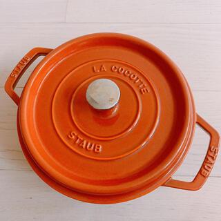 ストウブ(STAUB)のストーブSTAUB ピコ ココットラウンド22cmホーローオレンジ(鍋/フライパン)