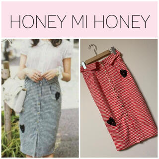 ハニーミーハニー(Honey mi Honey)のHONEY MI HONEY♡ギンガムチェックタイトスカート(ひざ丈スカート)
