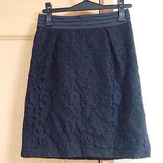 デミルクスビームス(Demi-Luxe BEAMS)の【BEAMS】黒レースタイトスカート(ひざ丈スカート)