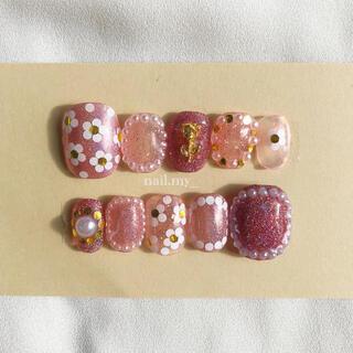 キラキラお花ネイル チューリップ ピンク ネイルチップ ジェルネイル(つけ爪/ネイルチップ)