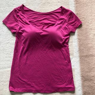 ユニクロ(UNIQLO)のユニクロ エアリズム  ブラUネックT(半袖) ピンク・ブラック・ネイビー S(Tシャツ(半袖/袖なし))