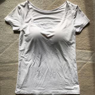 ユニクロ(UNIQLO)のユニクロ エアリズム  ブラUネックT(半袖) ホワイト Sサイズ ブラトップ(Tシャツ(半袖/袖なし))