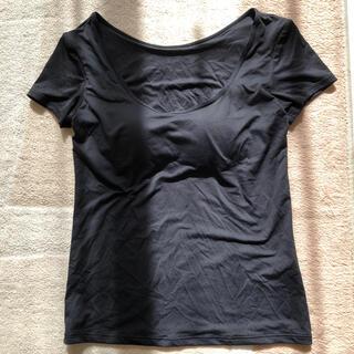 UNIQLO - ユニクロ エアリズム  ブラUネックT(半袖) ブラック Sサイズ ブラトップ