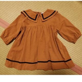 futafuta - 韓国子供服セーラー襟ワンピース100~110キャメル