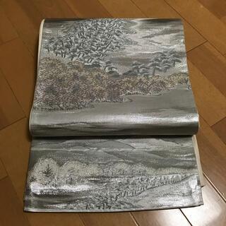 ニシジン(西陣)のプラチナ箔 遠山模様 西陣織袋帯(帯)