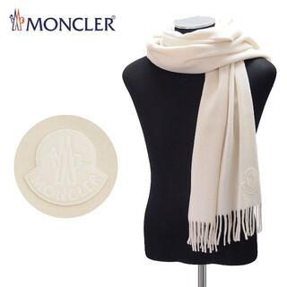 モンクレール(MONCLER)の104 MONCLER ホワイト BIGブランドロゴ付き ウール マフラー(マフラー)