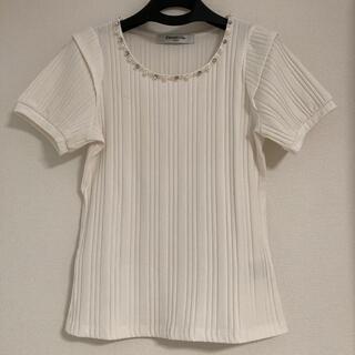 レトロガール(RETRO GIRL)のビジュー付き キレイめ 半袖シャツ(Tシャツ(半袖/袖なし))
