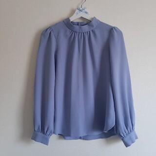 ジーユー(GU)のgu ブラウス 長袖 ブルー Mサイズ(シャツ/ブラウス(長袖/七分))