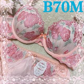 トリンプ(Triumph)の⑦新品♪薔薇刺繍が素敵な大人可愛いブラ&ショーツセットB70♡ピンク上品綺麗下着(ブラ&ショーツセット)