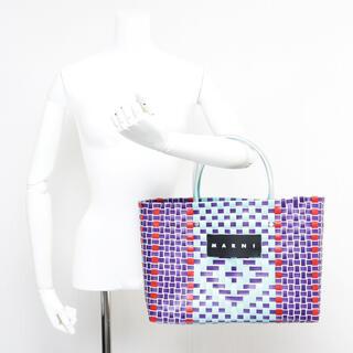 マルニ(Marni)の新品 マルニ フラワーカフェ ジェイド ピクニックバッグ 編み込み トートバッグ(ハンドバッグ)