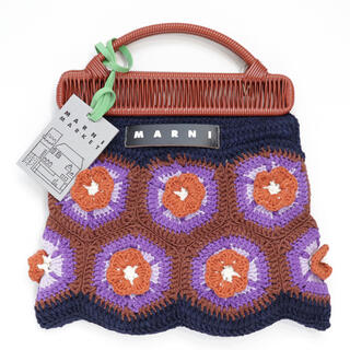 マルニ(Marni)の新品 マルニ フラワーカフェ クロシェ ディープブルー フラワー トートバッグ(ハンドバッグ)