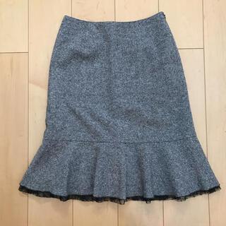 crimee ツイード 裾レース スカート(ひざ丈スカート)