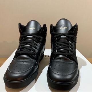 セリーヌ(celine)の新品 セリーヌ スニーカー 靴 ブラック レザー ハイカット 41(スニーカー)