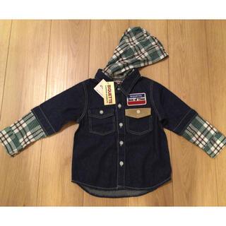 キムラタン(キムラタン)の新品 キムラタン フード付きデニムシャツ 100サイズ(Tシャツ/カットソー)