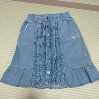 &LOVE 紺水色 デニムフリルスカート(ひざ丈スカート)