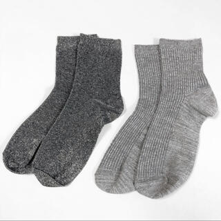 チュチュアンナ(tutuanna)のチュチュアンナ購入【ラメソックス シルバー】2足セット レディース靴下 グレー(ソックス)