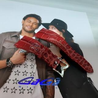 ガガミラノ(GaGa MILANO)の最終値下げ ガガミラノ gaga 革 ベルト 美品 レッド 24mm(レザーベルト)