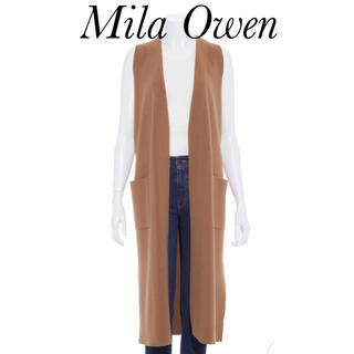 ミラオーウェン(Mila Owen)のMila Owenミラオーウェン ロングジレ バックベルトニットベスト キャメル(ベスト/ジレ)