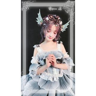 アンジェリックプリティー(Angelic Pretty)のウロコジャンパースカートセット★グレーブルー(ひざ丈スカート)