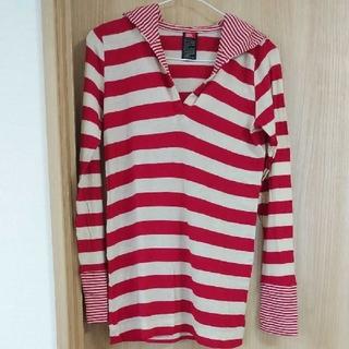 ダブルスタンダードクロージング(DOUBLE STANDARD CLOTHING)のレディース ボーダー 薄手 ロンT パーカー チュニック 長袖 ニット 赤 韓国(Tシャツ(長袖/七分))