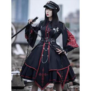 メタモルフォーゼタンドゥフィーユ(metamorphose temps de fille)の黒赤軍服ロリィタセット(帽子付き)アーミーロリィタ アビエタージュ(ひざ丈ワンピース)