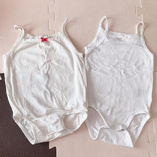 エイチアンドエム(H&M)のh&m babyキャミソールロンパース肌着2枚セット白(肌着/下着)