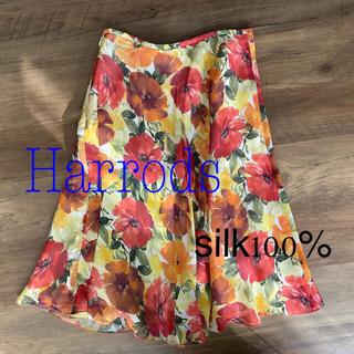 ハロッズ(Harrods)のHarrods シルク100% 花柄スカート(ひざ丈スカート)