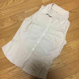 ムジルシリョウヒン(MUJI (無印良品))の無印良品☆ベージュストライプのシャツ(シャツ/ブラウス(半袖/袖なし))