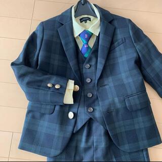 グリーンレーベルリラクシング(green label relaxing)のスーツ テーラードジャケット 入学式 卒園式 子供スーツ チェック 緑 グリーン(ドレス/フォーマル)