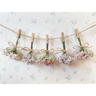 3種のピンクのバラのパステルピンクドライフラワーガーランド♡スワッグ♡ミニブーケ(ドライフラワー)