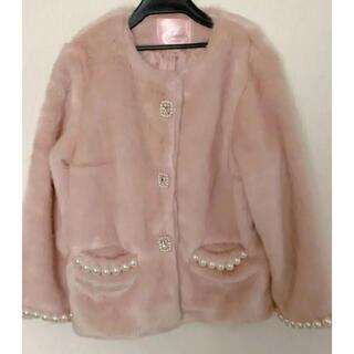 スワンキス(Swankiss)のswankiss ビジューコート ファーコート ピンク 新品未使用品(毛皮/ファーコート)