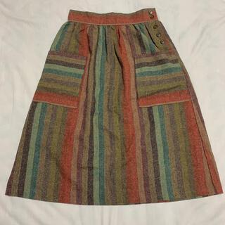 サンタモニカ(Santa Monica)の古着 ストライプ柄スカート(ひざ丈スカート)