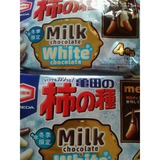カメダセイカ(亀田製菓)の亀田の柿の種 ミルクチョコ&ホワイトチョコ 4袋×2(菓子/デザート)