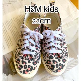 エイチアンドエム(H&M)のH&M kids ピンク×レオパード柄 スニーカー 22cm(スニーカー)
