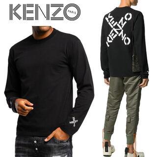 ケンゾー(KENZO)の1 KENZO ブラック ロゴ プリント 長袖Tシャツ ロンT size XL(Tシャツ/カットソー(七分/長袖))