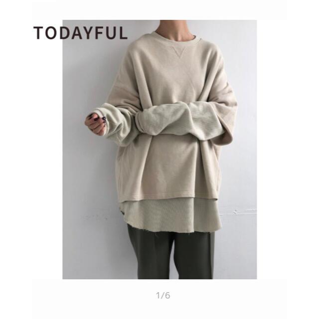 TODAYFUL(トゥデイフル)の新品タグ付き todayful レイヤード コットン スウェット アイボリー レディースのトップス(トレーナー/スウェット)の商品写真