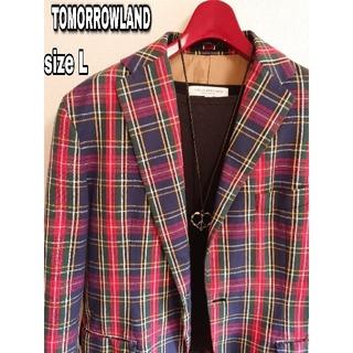 トゥモローランド(TOMORROWLAND)の【TOMORROWLAND】トゥモローランド テーラードジャケット チェック 赤(テーラードジャケット)