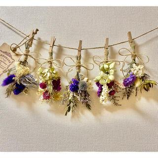 お花たっぷりドライフラワー スワッグ ガーランド❁62 紫白 紫陽花 花束♪(ドライフラワー)
