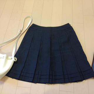 プーラフリーム(pour la frime)のプーラフリーム ネイビープリーツスカート(ひざ丈スカート)