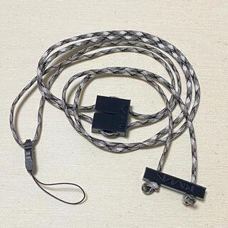 謎記号ストラップ・ホワイト/ブラック アダプター付き(ネックストラップ)