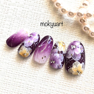 mokyuart74*和装 ネイルチップ 成人式 色打掛 振袖 和風ネイル 紫