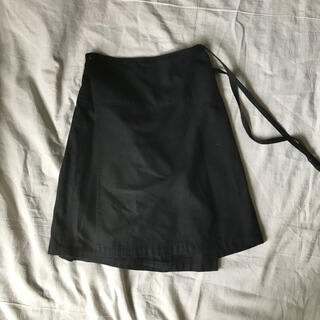 マーガレットハウエル(MARGARET HOWELL)のマーガレットハウエル MHL 巻きスカート ウール 黒 ブラック(ひざ丈スカート)