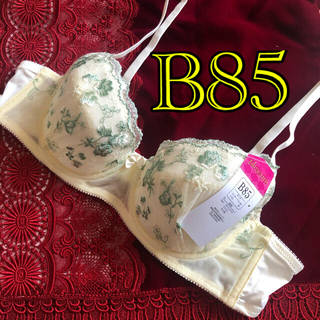 イエロー&グリーン B85 花柄レース刺繍シフォンブラジャー 未使用新品タグ付き(ブラ)