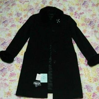 トッカ(TOCCA)のトッカ TOCCA カシミア カシミヤ 100% コート 黒 ブローチ付き(ロングコート)