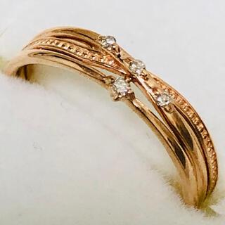 K18 PG ダイヤモンド3連風デザインリング(リング(指輪))