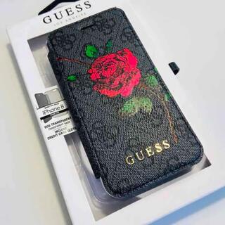 ゲス(GUESS)のGUESS ゲス iPhone SE2/7/8 フリップケース ローズ グレー(iPhoneケース)