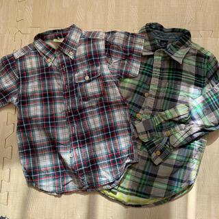 ギャップ(GAP)のチェックシャツ 二枚セット 半袖 長袖 ブルーグリー系(ブラウス)