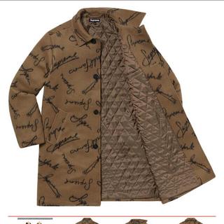 シュプリーム(Supreme)のScript Logos Wool Overcoat Tan M(チェスターコート)